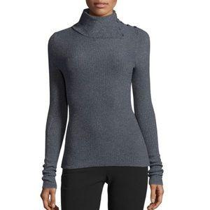 Theory Asymmetrical Blue Turtleneck Sweater
